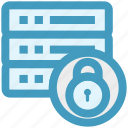 data protection, lock, network security, secure database, server locked icon