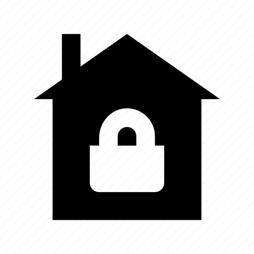 house insurance, house security, locked house, padlock, real estate icon