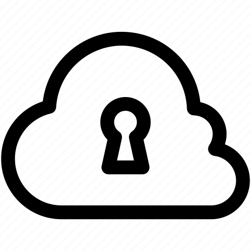 cloud computing, cloud security, keyhole, network security, storage cloud icon