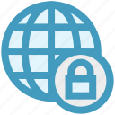cyber security, lock, protect, security, world globe icon