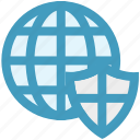 cyber security, protect, security, shield, world globe icon