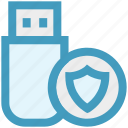 data, disk, shield, storage, usb icon
