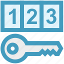 digital key, digital security, key, numeric code, pin code, security concept icon