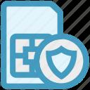 mobile card, sd card secure, security, shield, sim card