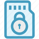 lock, memory card, mobile card, sd card secure, security icon