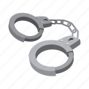 cartoon, chain, handcuff, justice, legal, lock, police icon