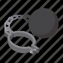 ball, cartoon, chain, crime, criminal, iron, metal icon