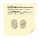 cartoon, finger, fingerprint, identification, identity, paper, print icon