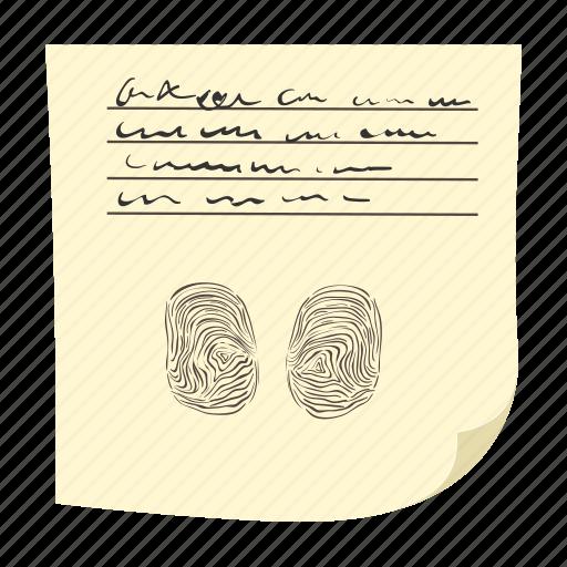 cartoon, finger, fingerprint, identification, identity, paper, print icon