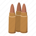 ammo, ammunition, bullet, caliber, cartoon, gun, metal icon