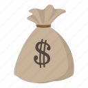 bag, cartoon, currency, dollar, full, money, sack icon