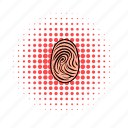 biometric, comics, crime, fingerprint, mast, security, skin icon