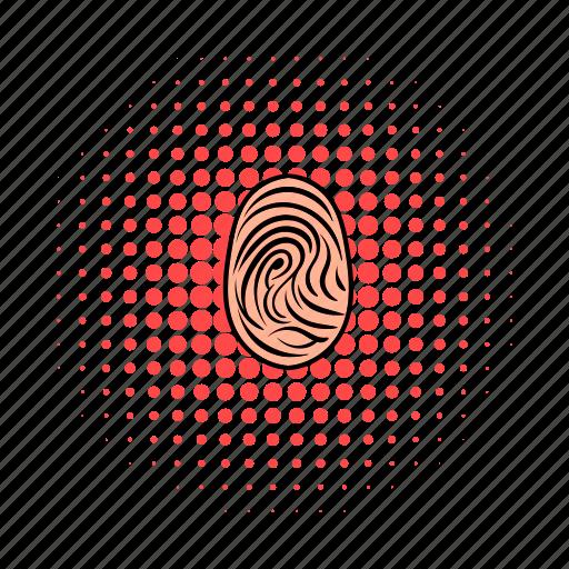 biometric, comics, crime, fingerprint, mast, security, skin icon