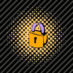 close, comics, lock, padlock, protection, secret, security icon