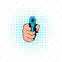 comics, criminal, gun, hand, handgun, pistol, weapon icon