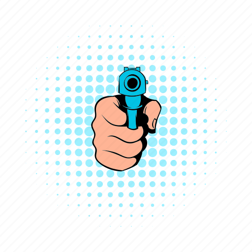 comics, criminal, gun, hand, handgun, pistol, weapon icon