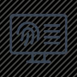 ciminal, database, fingerprint, fingerprints icon