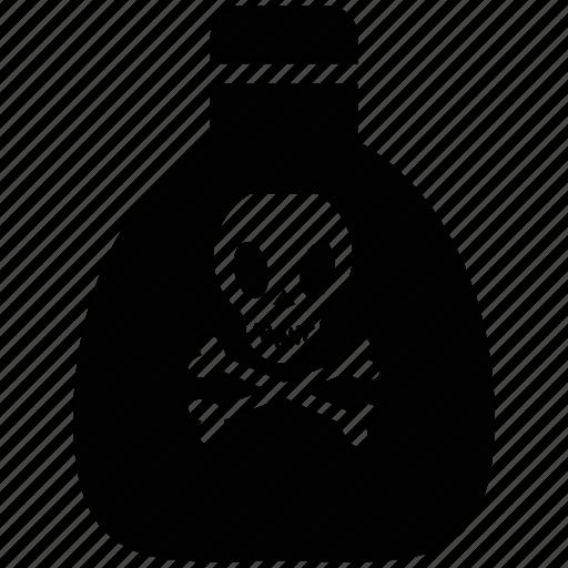danger warning, dangerous, poison, skull, toxin bottle icon