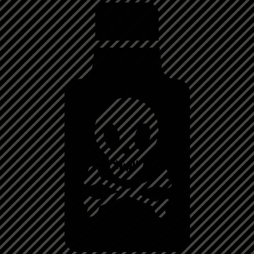chemical, danger warning, dangerous, poison, skull, toxin bottle icon