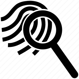 crime, fingerprint, fingerprint identity, investigation, magnifier icon