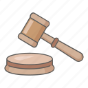 attention, auction, gavel, judge, justice, law, mallet icon