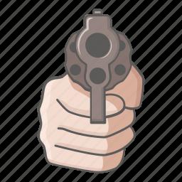 danger, gun, hold, pistol, revolver, threat, up icon