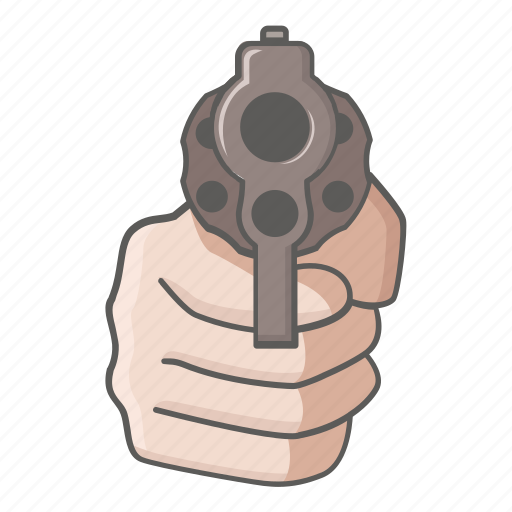 danger, gun, hold, pistol, revolver, threat, up icon