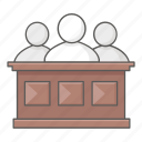 court, courthouse, judge, jurors, jury, panel, trial icon