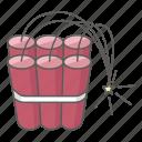 bomb, crime, dynamite, explosive, fuse, sticks, terrorism icon