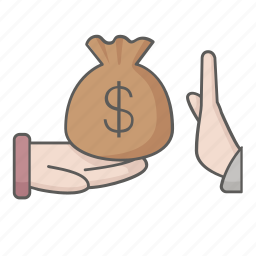 ban, bribe, bribery, money, no, offer, prohibited icon