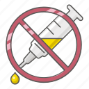 ban, drugs, inject, intravenous, no, prohibit, syringes