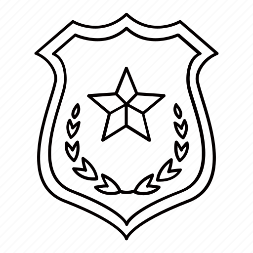 crest, enforcement, law, police, shield, star icon