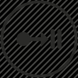aim, arrow, collision, crash, right, target, way icon