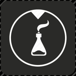 alcohol, chemistry, fluid, glass, retort, smoke icon