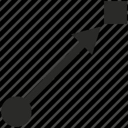 aim, arrow, curve, line, target, way icon