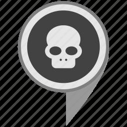dead, death, head, map, navigation, pointer, skull icon