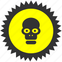 danger, dead, death, head, label, skull, warning icon