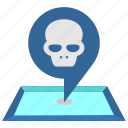 caution, danger, dead, death, pointer, skull icon