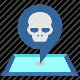 caution, danger, dead, death, pointer, skull icon