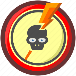 caution, danger, dead, death, enegry, head, skull icon