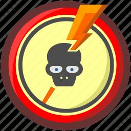 caution, danger, dead, death, enegry, head, skull icon