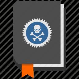book, dead, death, head, rip, skull, study icon