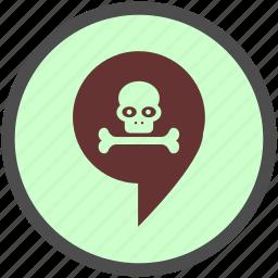 danger, death, grave, halloween, skeleton, skull, tomb icon
