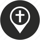christian, church, map, navigation, place, pointer, sign icon