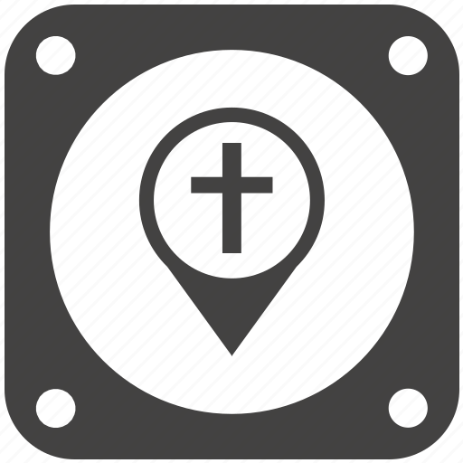 christian, church, cross, map, navigation, pointer, sign icon