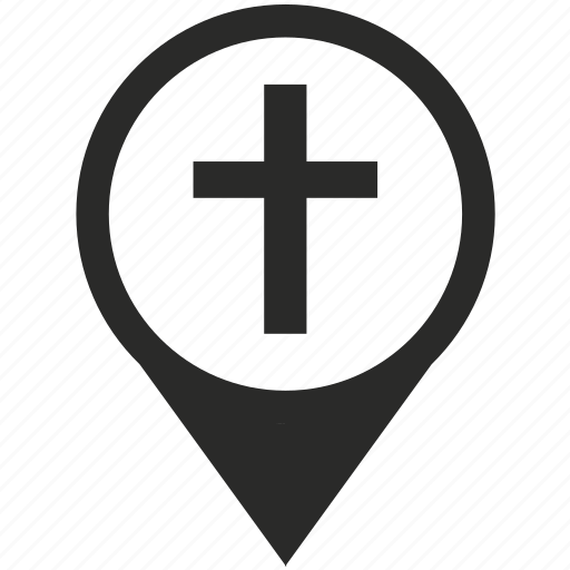 christian, church, cross, map, place, pointer, sign icon