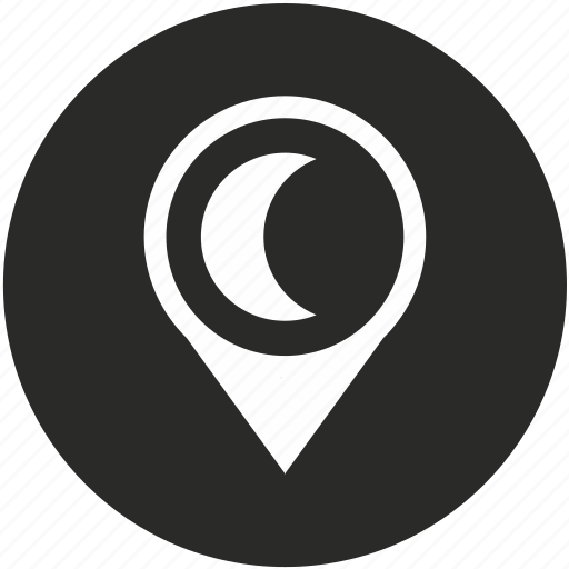 map, moon, navigation, night, pin, place, pointer icon