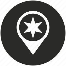 gps, map, place, pointer, polygon, star icon