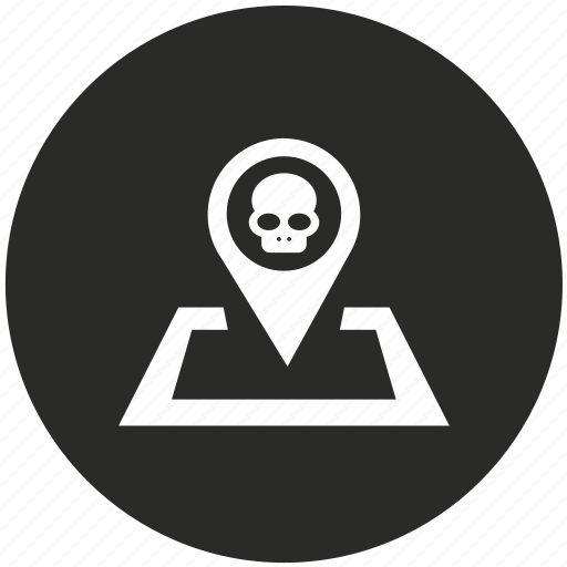 death, grave, location, navigation, place, pointer, skull icon