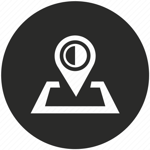 border, map, middle, navigation, place, pointer, sun icon